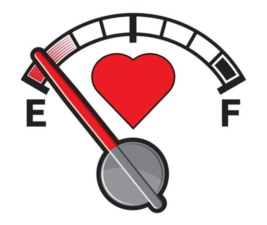 Gas gage showing human heart near empty